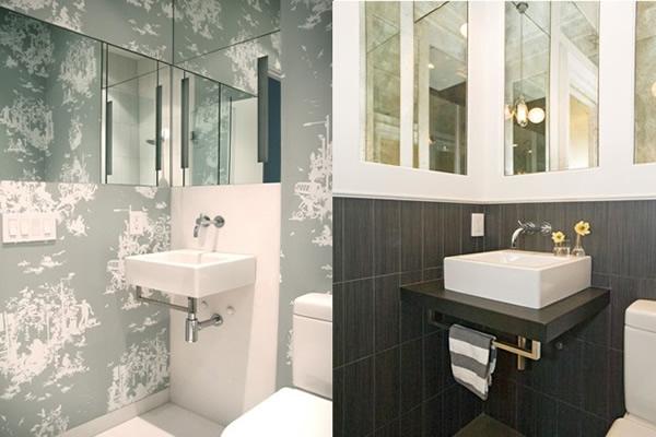Banheiro Modernos Mais de 87 modelos inspiradores! -> Banheiro Moderno Com Papel De Parede