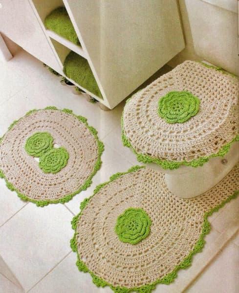 Conjunto clássico de tapete de crochê para banheiro