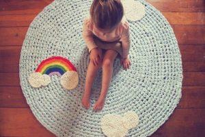 tapete de barbante quarto criança arco iris
