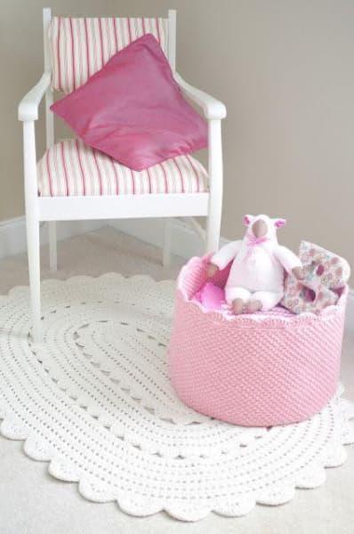 tapete de barbante quarto criança rosa
