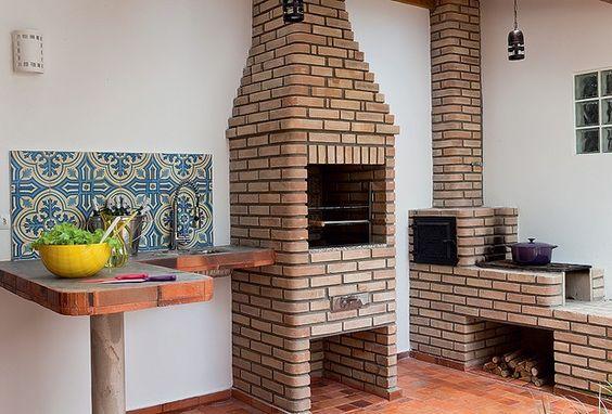 churrasqueira pre moldada tijolo a vista