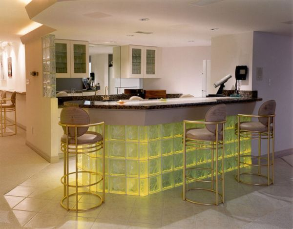 balcão de cozinha americana de vidro