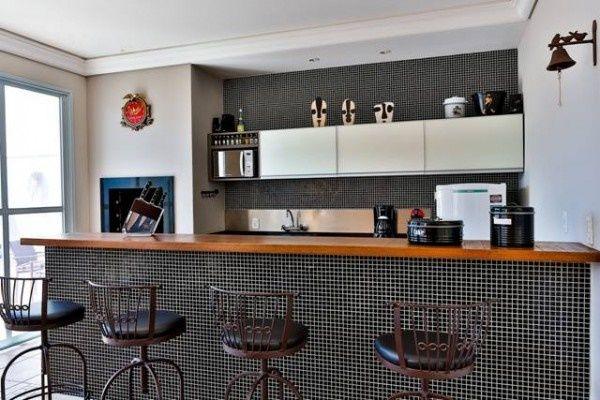 balcão de cozinha americana com revestimento