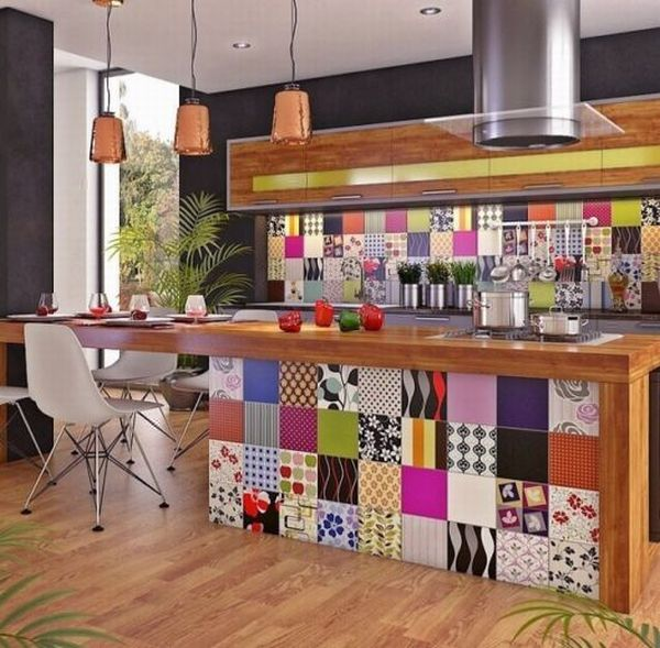 balcão de cozinha americana colorido