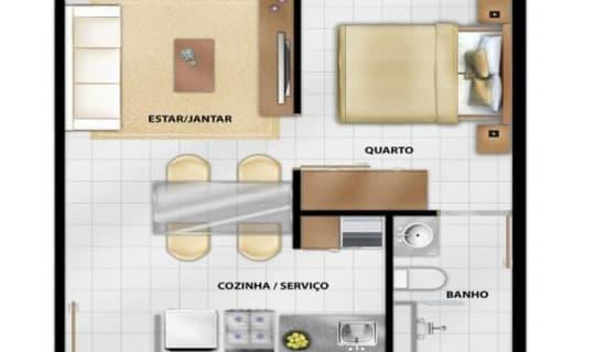 Quitinete com sala e cozinha grandes