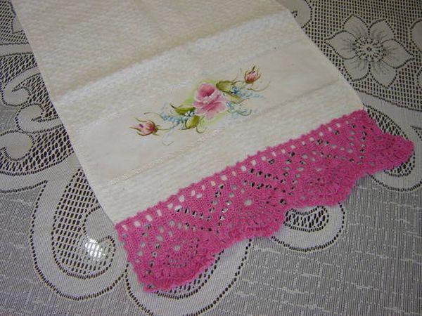 Bico de crochê para toalha de rosto
