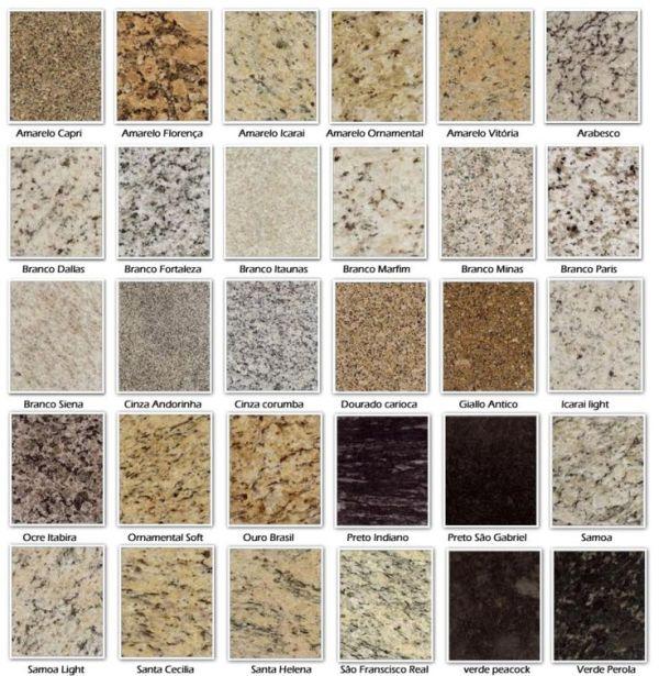 Tipos e cores de granitos