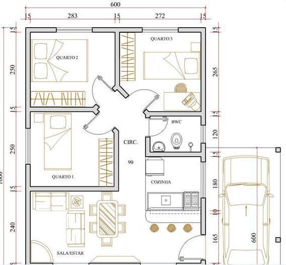 espaço com centro para ligar os cômodos da casa