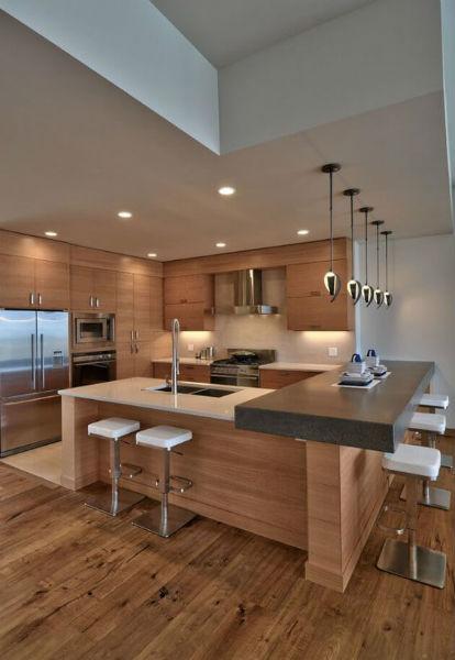 cozinha americana móveis de madeira