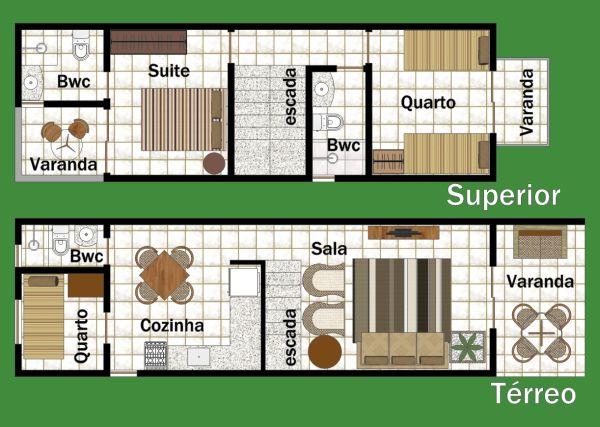 Planta de casa com dois andares
