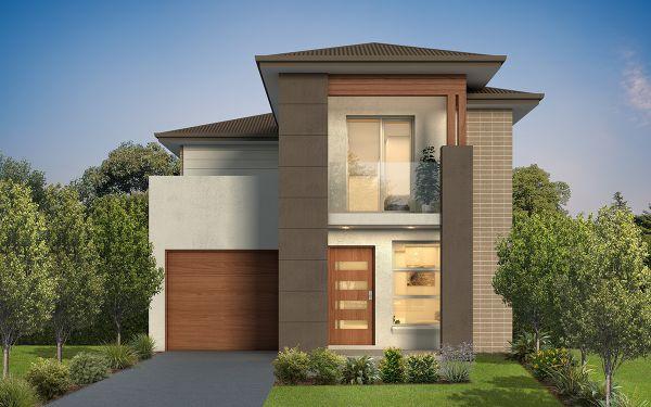 fachadas de casas de dois andares