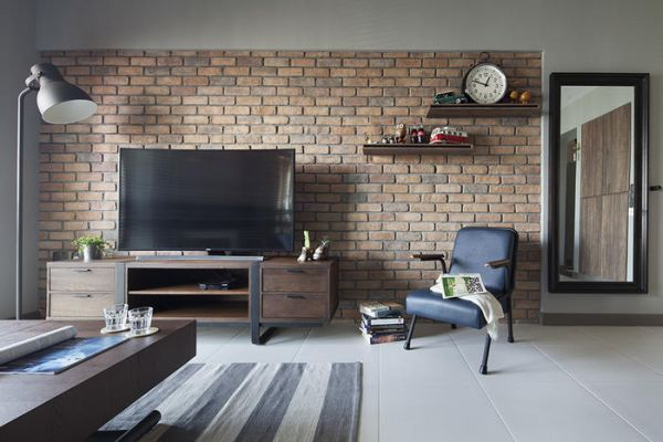 Como aplicar tijolo de demoli o for Wall design for living room philippines