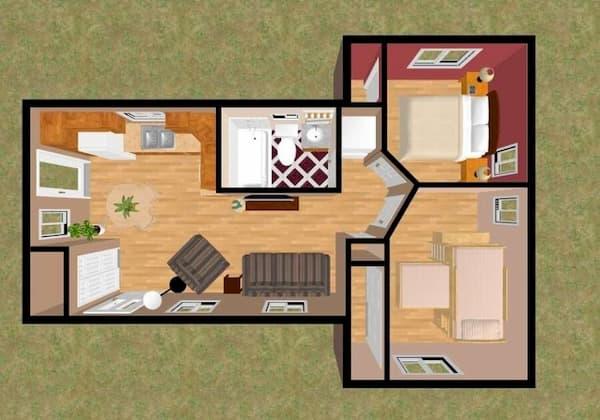 Casa pequena com dois quartos