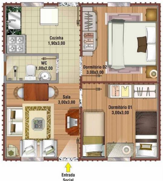 Projeto de casa com 40m