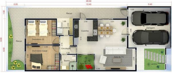 Projeto de casa simples com dois quartos e cozinha americana