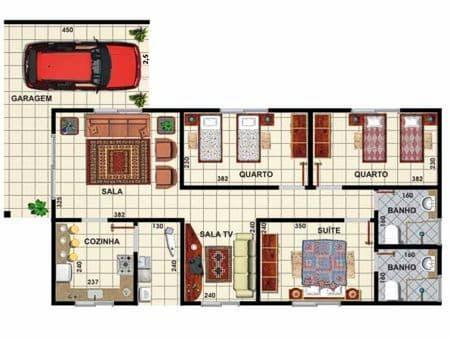 Projeto de casa simples com garagem e três quartos