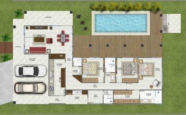 Projeto de casa simples com piscina