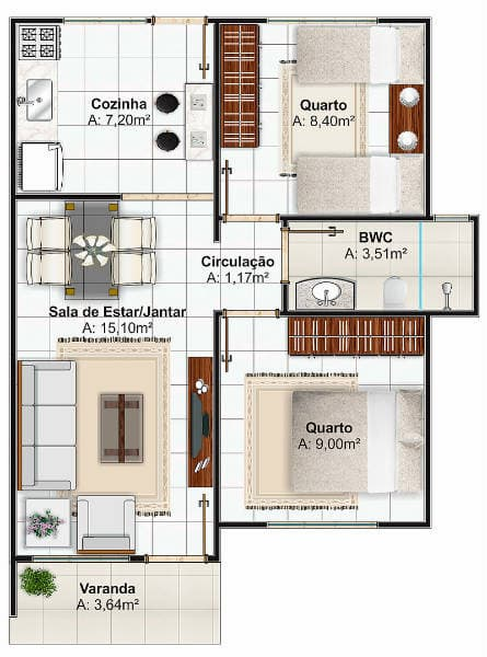 Projetos de casas simples com 50m 1