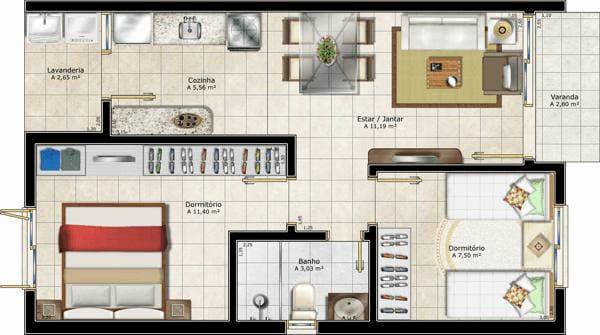 Projetos de casas simples com 50m