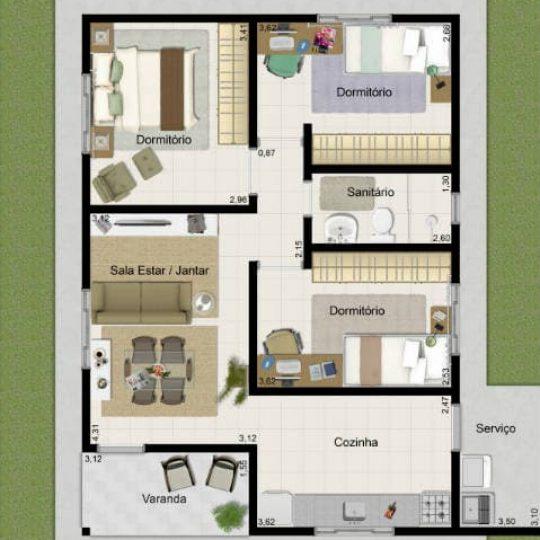 Projetos de casas simples com cômodos bem divididos 1