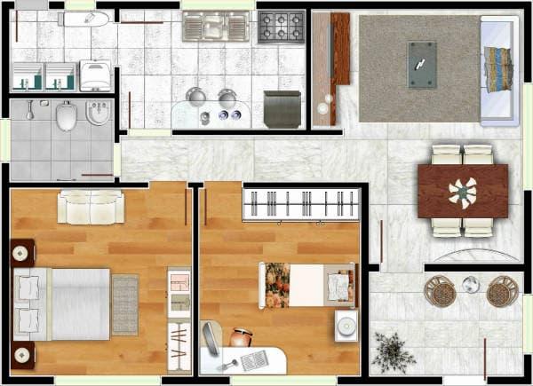 Projetos de casas simples com cômodos bem divididos