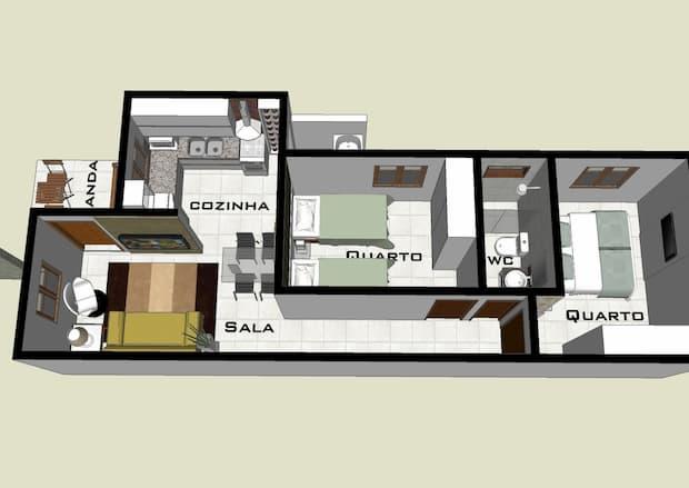 casas de fundo 2 quartos