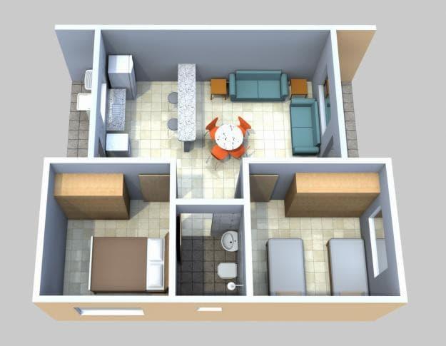 casas de fundo com 2 quartos