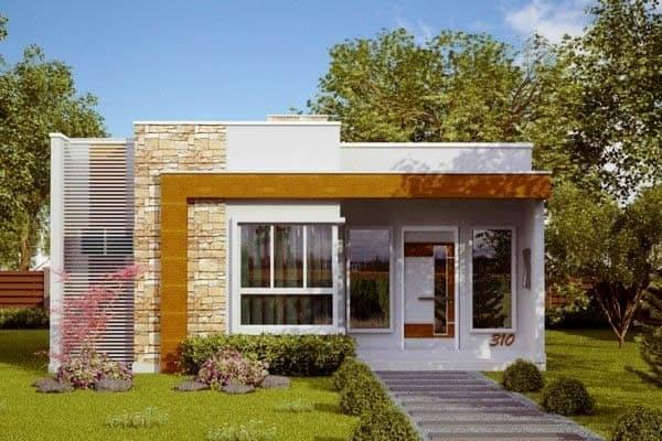 Fachada de casa simples com detalhe em pedra palito