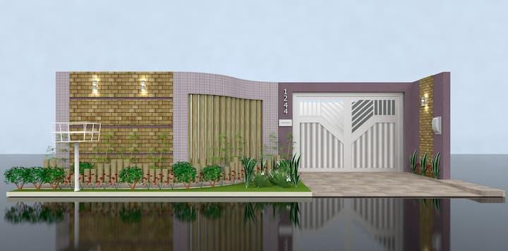 Opção de Muro com Recuo e Jardim