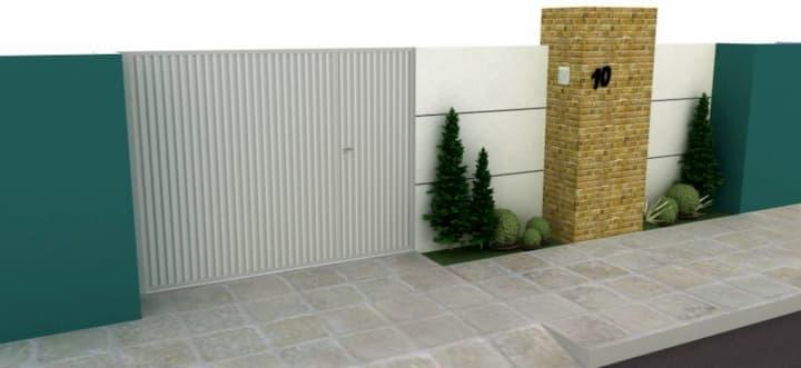 Projeto de Muro Recuado com Plantas