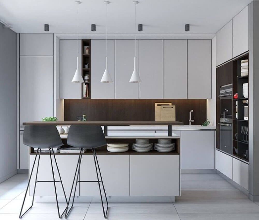 cozinha integrada com ilha minimalista