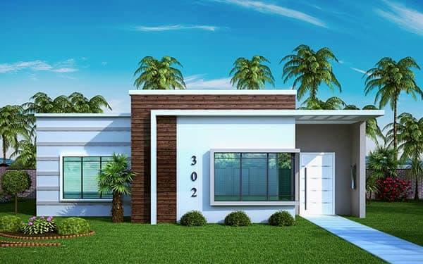 fachada simples com telhado escondido