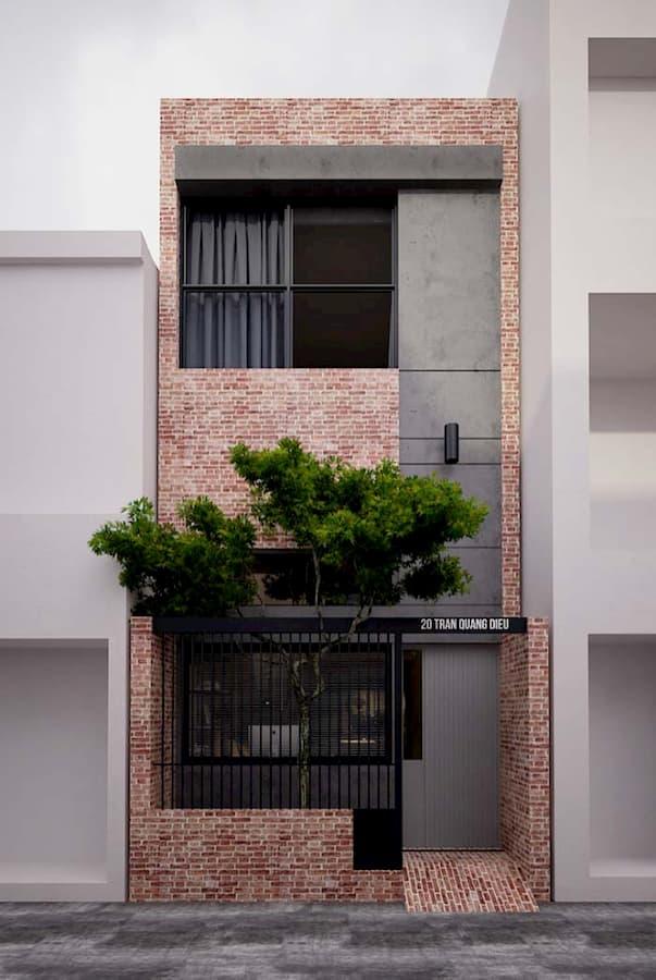 muros de tijolo para casa moderna