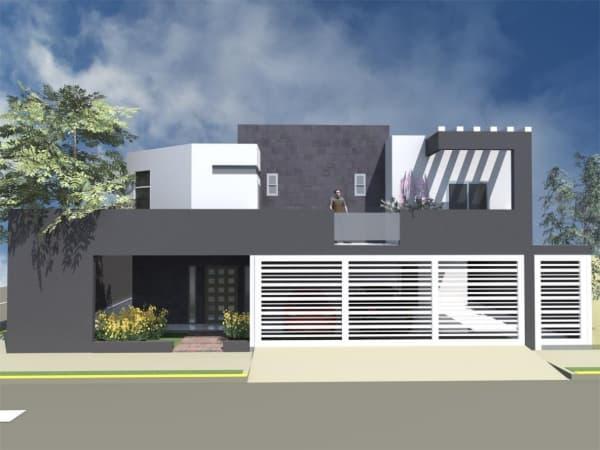 projeto de fachada para casa minimalista escura