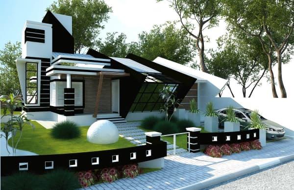 projeto fachada para casa moderna preta e branca