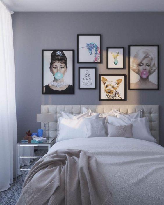 decoração com quadros para quarto