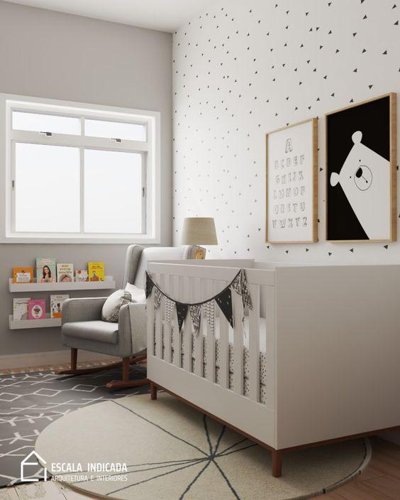 Quarto de bebê pequeno simples e barato- Decoração minimalista