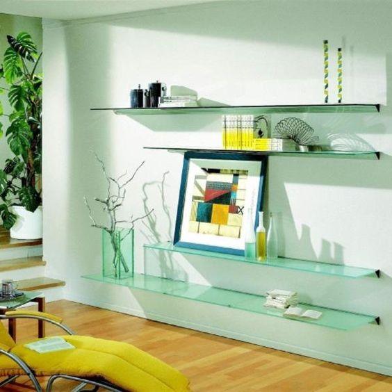 prateleira de vidro para sala